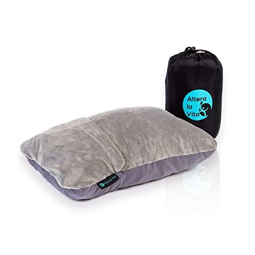 ALTERA LA VITA Reise-Kissen Nackenkissen aus zerkleinertem Memory Foam - dadurch komprimierbar - für Flugzeug Bahn Auto Outdoor Camping, Ultraleicht klein kuschelweich