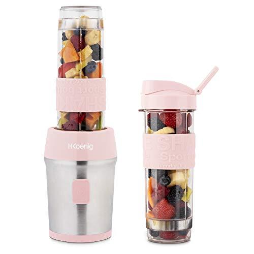 H.Koenig - Mini batidora portátil (570 ml), color rosa compacto SMOO12 sin BPA, 300 W, 2 botellas portátiles, 4 cuchillas de acero inoxidable, 2 botellas con tapas de viaje incluidas