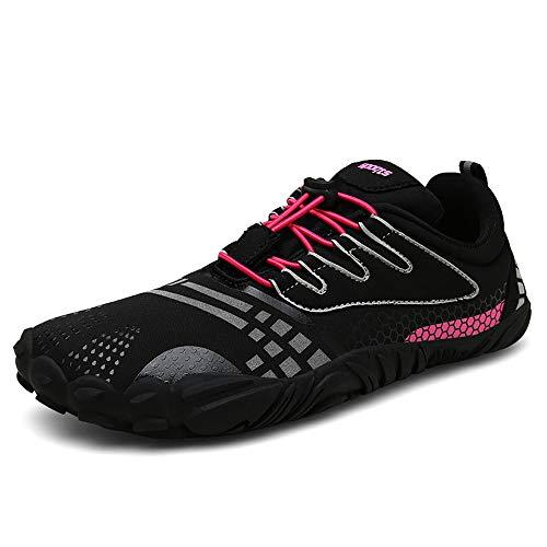 FOGOIN Barfußschuhe Herren Damen Outdoor Fitnessschuhe Laufschuhe Minimalistische Sneaker im Sommer Gr.37-47, Black, 37 EU