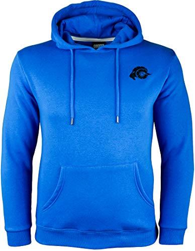 GUGGEN Mountain Herren Kapuzenpullover mit Fleece Hoodie Hooded Logo Sweater Sweatjacke Warmer Pullover Streetwear Langarm Kapuze Outdoor Sport Blau XXL