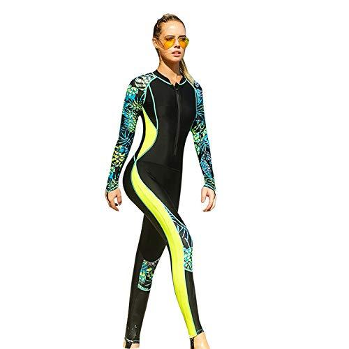 Traje de Neopreno de Invierno para Mujer con Cremallera Frontal, Ultraelástico Traje de Buceo de Surf Secado Rápido Térmico Wetsuit,Black-S