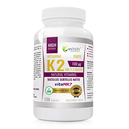 Wish Pharmaceutical Vitamina K2 MK-7 Natto 100mcg Paquete de 1 x 120 Tabletas Bacillus Subtillis Natto