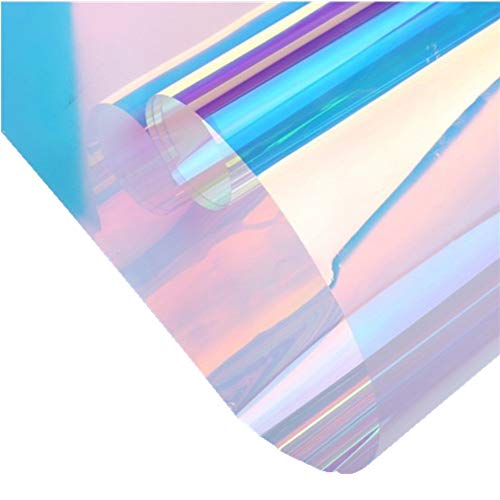 Teemall Adhesive Window Films Holographic Window Tint Stained Sheets Window Clings Heat Control 17.7inch by 79 Inch