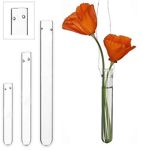 Ideas 4 seasons Reagenzgläser mit Loch, 10 x 1,5 cm, 12 Stück, Blumen-Vase, Glas, aufhängen, hängen, Gestecke, Hochzeit, Kirche, Deko, hängend
