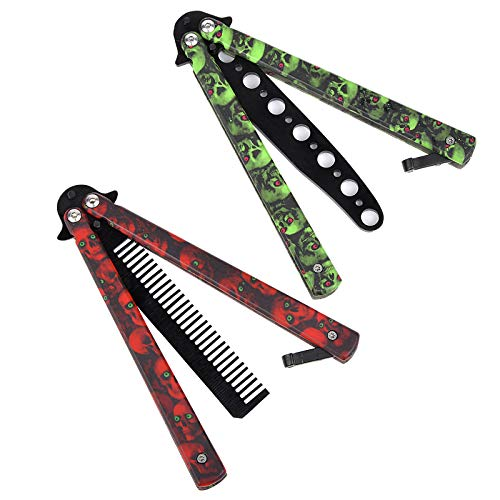 AIFUSI Practice Butterfly Knife Trainer, 2 Pack Steel Folding Comb, Unsharpened Blade, No offensive Bilsong for Beginners Training Outdoor Indoor Camping Tactical (Red & Green)
