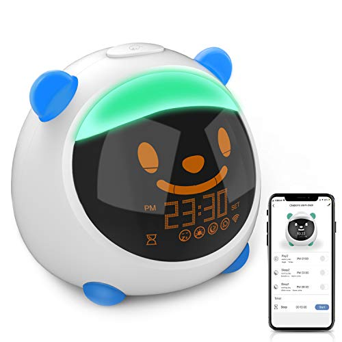 Reloj despertador para niños con WiFi y control de smartphone, KAJURY entrenador de sueño para niños, 7 colores de luz nocturna, enseña a los niños a tener hábitos regulares de sueño y despertar (azul)