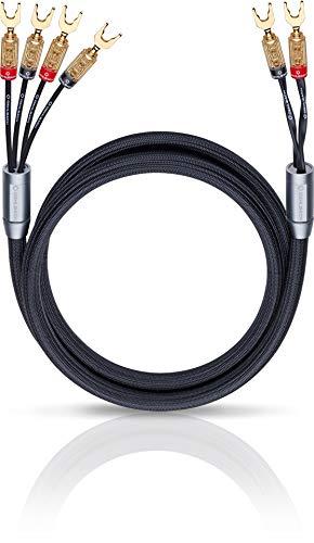 Oehlbach XXL Fusion Four - High-End Bi-Wiring Lautsprecherkabel Stereo Set mit Kabelschuh-Verbinder - Made in Germany - 2 x 3m - schwarz