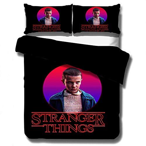 Juego de ropa de cama con funda nórdica 3D de Stranger Things, ropa cama con funda edredón de tamaño completo suave y cómoda para adultos y adolescentes, textiles para el hogar-C_228x228cm (3pcs)