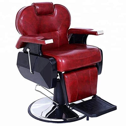 como Silla de Peluquero Multiusos, sillón de Belleza de peluquería/peluquería, reclinable Giratorio, 2 Colores Opcionales (Rojo y Negro)