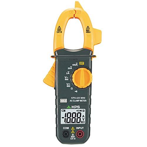 KPS-PA420 Mini Pinza Amperimétrica digital 2000 cuentas, Tensión AC DC 600V, Corriente AC 400A, y Resistencia 2KΩ, Retención lecturas, avisador de continuidad y prueba de diodos. CAT. III 600V
