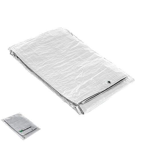 SATURNIA 15070055 Lona Impermeable Reforzada 4x6 (Aproximadamente) con Ojetes Metálicos, Lona de Protección Duradera, Color Blanco, 4 x 6 metros