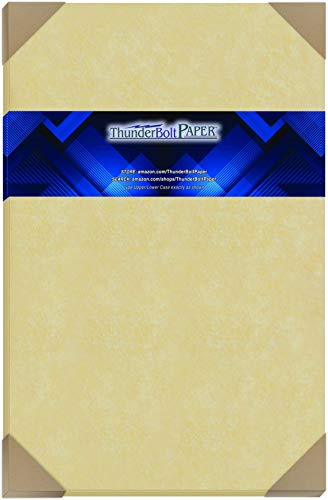 "150 Light Gold Parchment 60# Text (=24# Bond) Paper Sheets - 11"" X 17"" (11X17 Inches) Tabloid