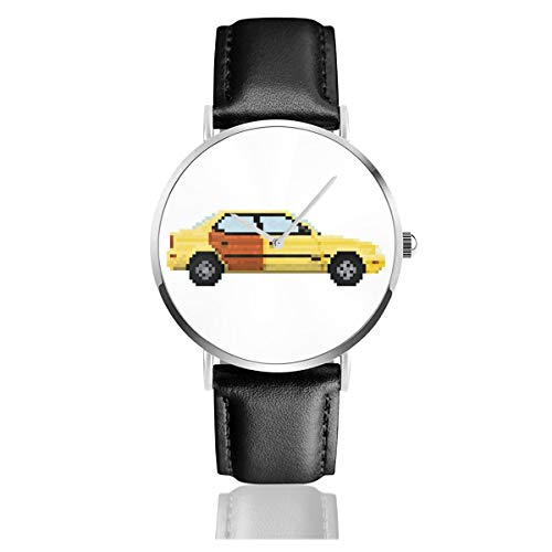 Unisex Business Casual Better Call Saul Pixel Auto Suzuki Esteem Uhren Quarz Leder Uhr mit schwarzem Lederband für Männer Frauen Junge Kollektion Geschenk