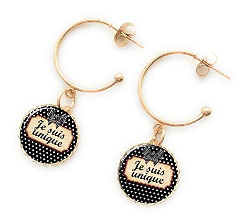 Boucles d'oreilles créoles or noir blanc avec motif pois, bijou cabochon, boucles pendantes bohème