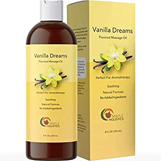 Sensual Vanilla Massage Oil - Men and Women with Pure Jojoba Sweet Almond Lavender Moisturizer Anti Cellulite Body Oil for Dry Skin Antioxidant Vitamin E for Healthy Soft Skin and Muscle Pain Relaxer