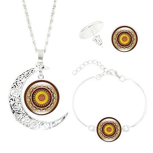 msyou 4piezas/juego de joyas de mandala flor Media Luna Styling Halskette Ohrringe Armband joyas adornos para hochzeitsbankett Party 2 * 2 * 1.4cm Style 4