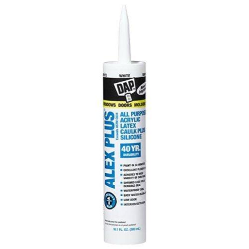 DAP INC 18152/11440 10.1oz White Alex Plus Acrylic Latex Caulk with Silicone, 2 Pack