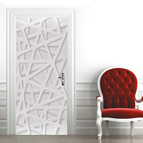 Stickers De Porte 3D Muraux Trompe l'oeil Intérieure Salon Modèle De Porte en Plâtre Imperméable Amovible Vintage Autocollants Decoration 90 * 200Cm