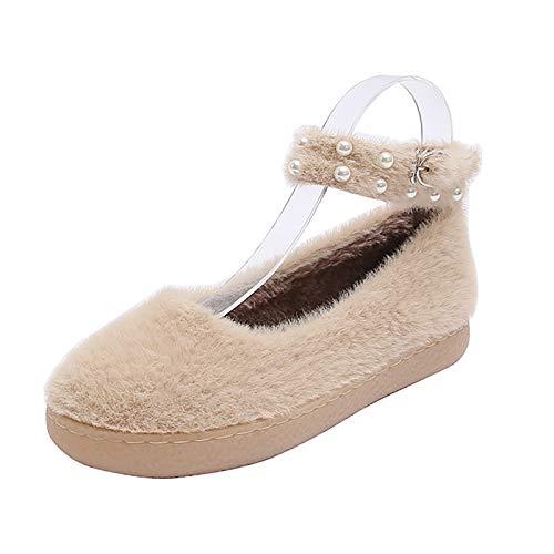 UELEGANS Memory Foam Zapatillas De Casa para Mujer Felpa Pantuflas Mocasines Calentar Invierno Tweed Zapatos para Interior Exterior Caucho Suela,Apricot,34