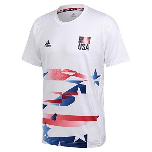 adidas Mens USA Volleyball Primeblue Replica Tee White/Grey/Team Navy Blue M