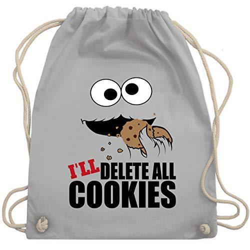 Shirtracer Nerds & Geeks - I will delete all cookies Keks-Monster - Unisize - Hellgrau - Spruch - WM110 - Turnbeutel und Stoffbeutel aus Baumwolle