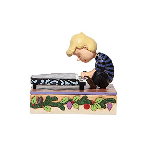 Enesco Jim Shore Peanuts Christmas Pageant Schroeder with Piano Key Wind Musical Figurine, Multicolor