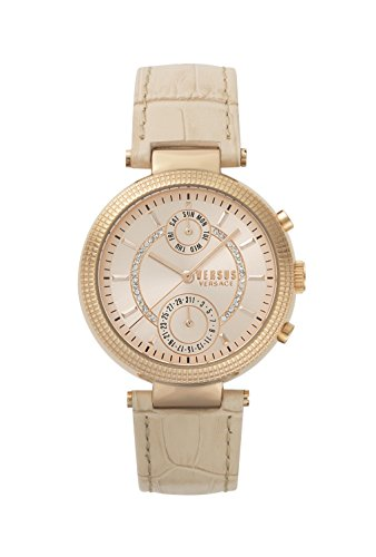 Versus by Versace Damen Datum klassisch Quarz Uhr mit Leder Armband S79100017