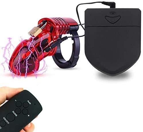 SEX-GHD D Stimulateur de Puissance Plastique avec Longue Cage de contrôle avec 5 Anneaux, Rouge