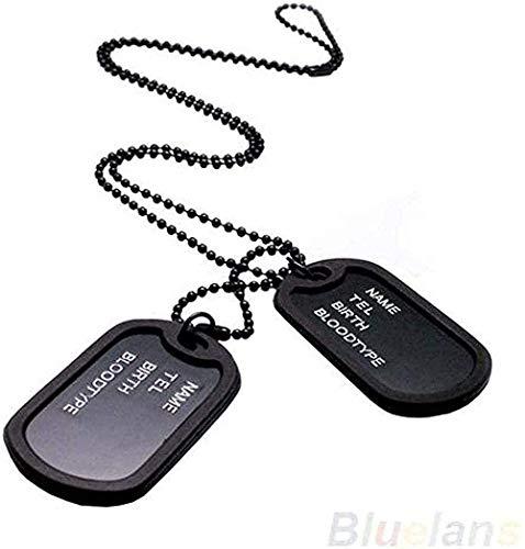 ZGYFJCH Co.,ltd Collar Mujer Negro Estilo Militar Collar 2 Etiquetas de Perro Colgante Suéter Collar de Cadena Hombres S