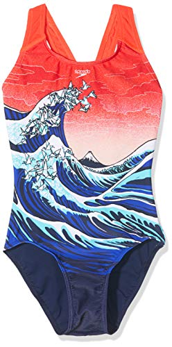 Speedo Origiwave Placement Digi Splashback Bañador, Niñas, Origami Wve Nvy/Lavred/Bl, 26 (ES 8)