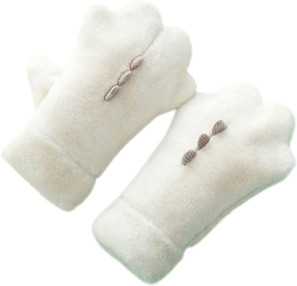 Winter Mittens For Women Cold Weather Ski Mitten Warm Fluffy Fleece Gloves Cycling Running Work Bear Paw Mitten