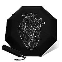 本当の心印刷自動三つ折り傘傘防風トラベル傘コンパクト折りたたみ傘