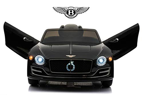 Rock Wheels Licensed Bentley EXP12 Kids Ride on Toy Car, 12V Battery Powered Children Electric 4 Wheels w/ Parent Remote Control, Foot Pedal, 2 Speeds, Music, Aux, LED Headlights (Black)