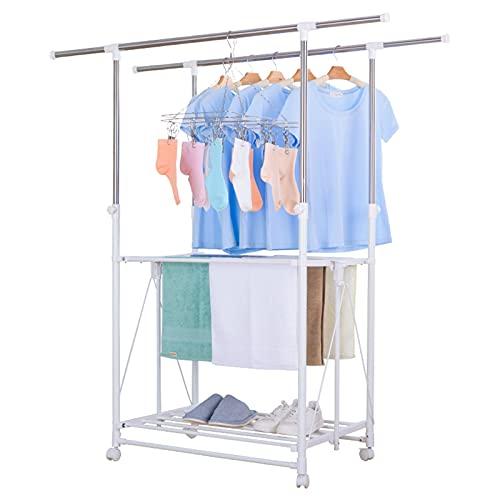 Hchao Ropa de Plegable Ampliable, Aire, Ropa de lavandería de 2 Niveles, Estante de lavandería, Estante de lavandería al Aire Libre con pies Antideslizantes, Ahorro de Espacio Plegable