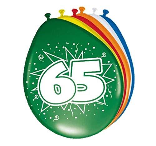 Folat 08265 65. Geburtstag Ballons 8 Stück, Mehrfarbig