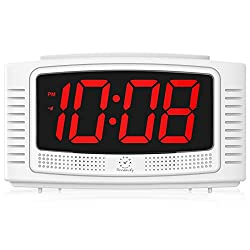 DreamSky Digital Alarm Clock with Snooze, 1.2 Inch Clear Led Digit Display with Dimmer, Simple Operate, Plug in Clock for Bedroom. (White + Red)