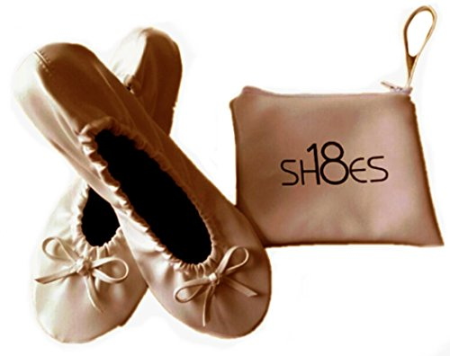 Shoes 18 Women's Foldable Portable Travel Ballet Flat Shoes w/Matching Carrying Case Nude sh18 7/8