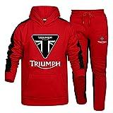 Herren und Damen Sportanzug Für Triu_M.Ph Zweiteilige Sweater Pants Stripe mit Kapuze Trainingsanzug Oben SPONYBORTY/Rot/XL