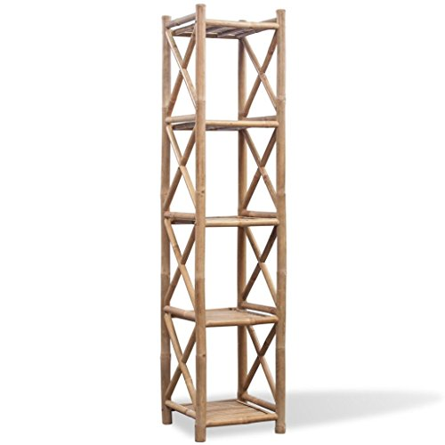 Tidyard Muebles Auxiliares Estantería de Bambú Cuadrada de 5 Niveles