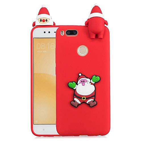 HongYong - Carcasa para Xiaomi Mi A1 de silicona de Papá Noel, funda Xiaomi Mi 5X de silicona suave 3D para Xiaomi Mi A1 / Xiaomi Mi 5X Funda Verde de goma para niñas