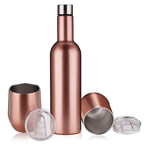 Isolierte Flasche und Trinkgläser, doppelwandig, vakuumisoliert, Edelstahl, 750 ml Weinflasche und 2 Stück 340 ml Weingläser mit Deckel, Wein-Geschenk-Set, für Wein, Getränke, Champagner etc.