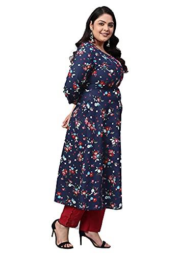 Yash Gallery Women's Plus Size Cotton Floral Print Anarkali Kurta (Blue)