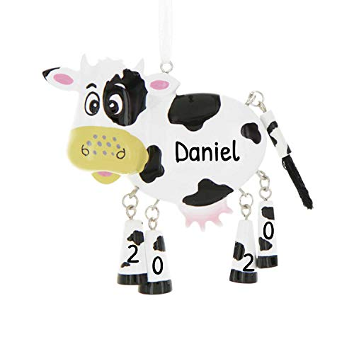 Personalized Farm Animals Christmas Tree Ornament 2020 - Cute Cow Dangling Legs Farmer Collection Industry Barnyard Agriculture Meat Egg Milk Fur Leather Wool Gift Year - Free Customization