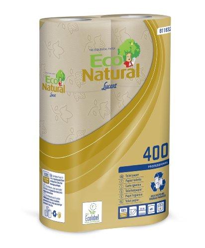 Toilettenpapier 30 Rollen 2-lagig 400 Blatt/Rolle Eco Natural 400 100% Recyclingpapier gewonnen aus recycelten Getränkekartons Eco Revolution
