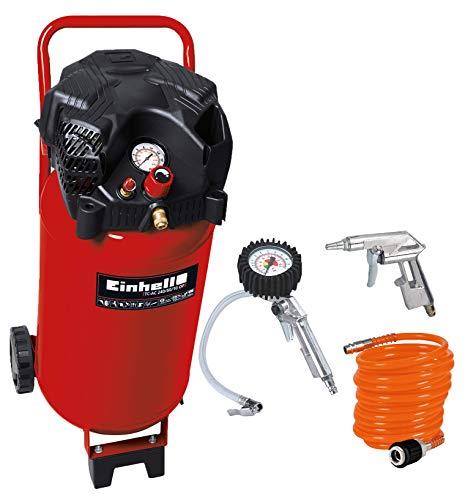 Einhell Kompressor TH-AC 240/50/10 OF (1,5 kW, 50 L, Ansaugleistung 240 l/min, 10 bar) + Druckluft Set, 3-teilig passend für Kompressoren (4 m Spiralschlauch, Reifenfüllmesser, Ausblaspistole kurz)
