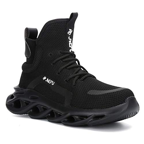ORISTACO Work Safety Boots Breathable Lightweight Reliable Durable Steel Toe Industrial Construction Shoes, High Cut 01 Black 46