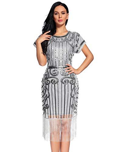 Women's Flapper Dress 1920s Gatsby Sequin Fringe Short Sleeve Cocktail Dresses (Grey,S)