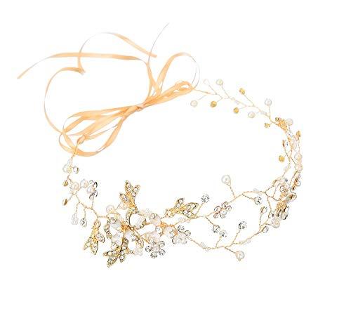 Élégant Chapeaux De Perles, Strass En Forme De Feuille De Mariage Bijoux Perle De Mariée Strass Pièce De Tête Cheveux Accessoires pour Dames De Mode De Mariage Partie