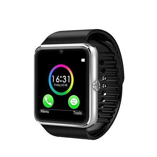 Wingtech Smart Watch Phone 1.54 Inch Phone Syc Fully Support Android 4.3 above and iPhone5s /6/6s/7/7s/8 (Partial Functions for iPhone) (Silver)