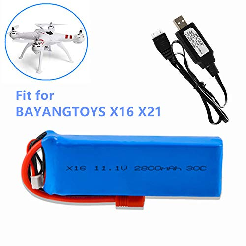 11.1V 2800mAh 30C Lithium Battery for BAYANGTOYS X16 X21 Four-Axis Drone Spare Parts 1 Pack with USB Charger